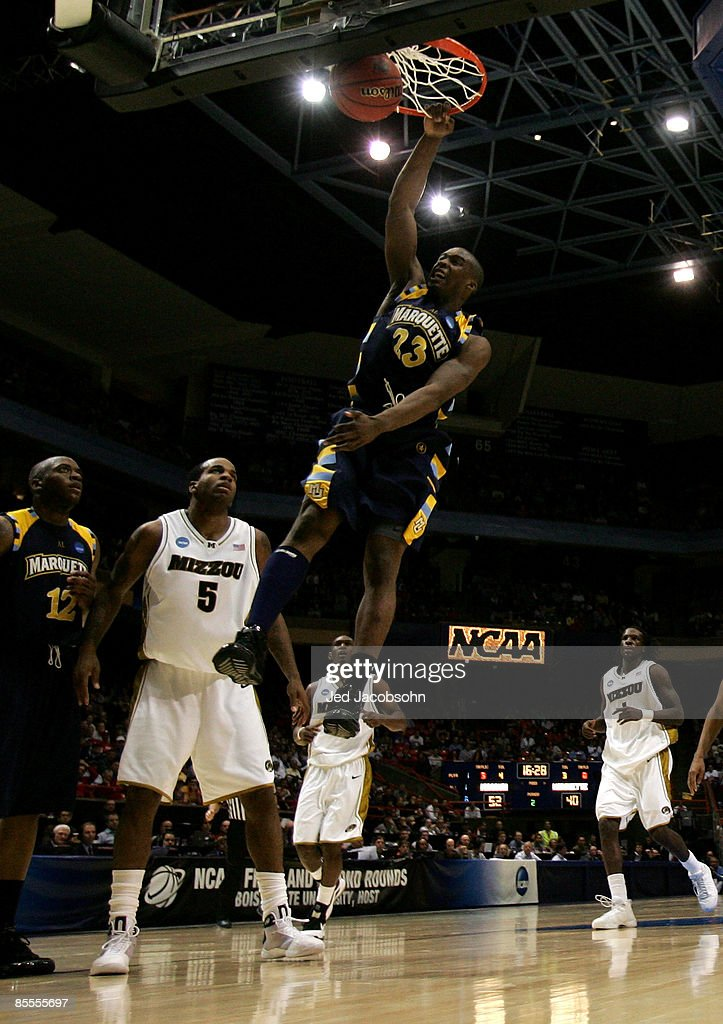 Forward Wesley Matthews #23 of the Marquette Golden Eagles dunks the ball against the Missouri Tigers in the second round of the NCAA Division I Men's Basketball Tournament at the Taco Bell Arena on March 22, 2009 in Boise, Idaho.