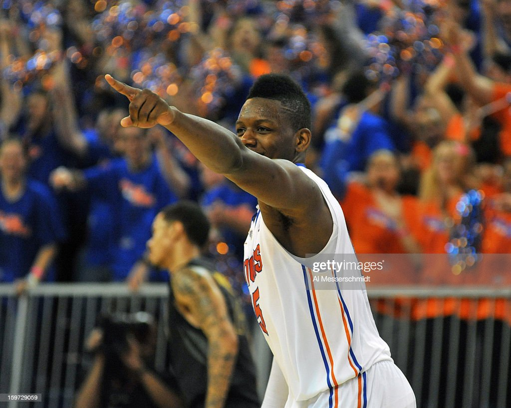 Forward Will Yeguete #15 of the Florida Gators points to the bench after a second half score against the Missouri Tigers January 19, 2013 at Stephen C. O'Connell Center in Gainesville, Florida. The Gators won 83 - 52.