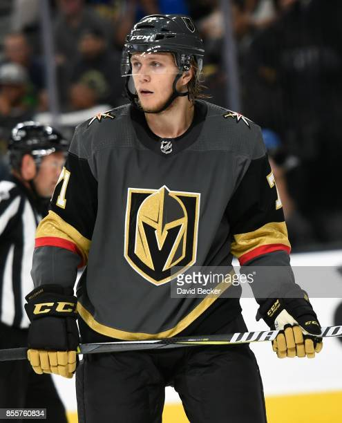 Forward William Karlsson of the Vegas Golden Knights looks on during a preseason game against the Colorado Avalanche at TMobile Arena on September 28...
