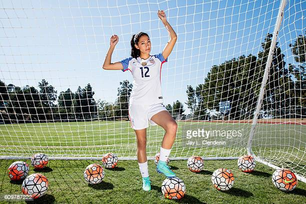Forward with the Women's National Soccer Team Christen Press is photographed for Los Angeles Times on June 24 2016 in Palos Verdes Estates California...