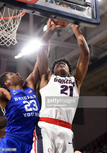 BYU forward Yoeli Childs blocks this shot by GU forward Rui Hachimura during the game between the BYU Cougars and the Gonzaga Bulldogs played on...