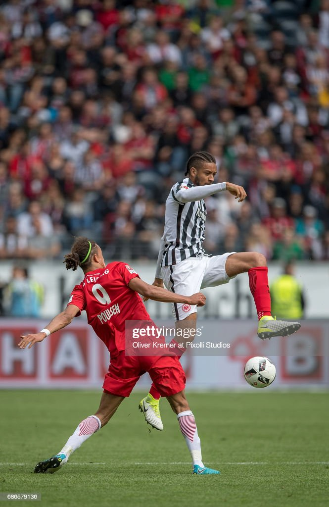 Forward Yussuf Yurary Poulsen (9) of RB Leipzig and Defense Michael Hector of (15) Eintracht Frankfurt fighting for the ball at the Commerzbank Arena during the 1. Bundesliga match between Eintracht Frankfurt and RB Leipzig on May 20, 2017 in Frankfurt, Germany