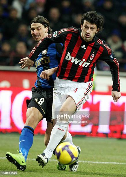 Forward Zlatan Ibrahimovic of FC Inter and Defender Kakha Kaladze of AC Milan in action during FC Inter Milan v AC Milan Serie A match on February 15...