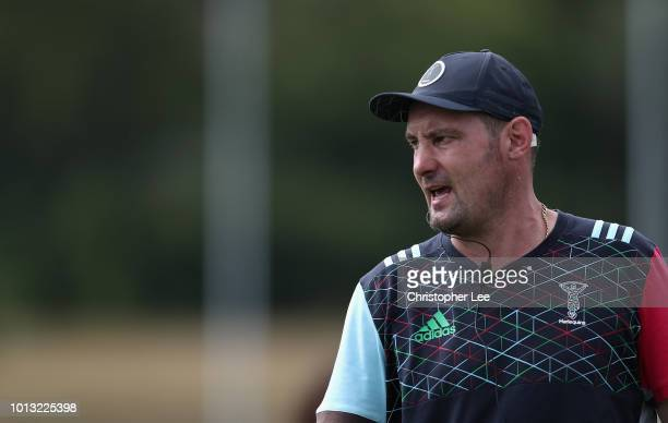 Forwards Coach Alex Codling shouts orders during the Harlequins PreSeason Training Session at Surrey Sports Park on August 8 2018 in Guildford England