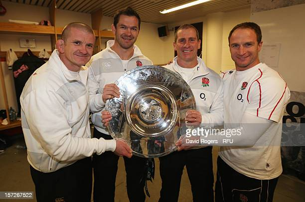 Forwards coach Graham Rowntree backs coach Andy Farrell of England Head Coach Stuart Lancaster of England and attacking skills coach Mike Catt of...