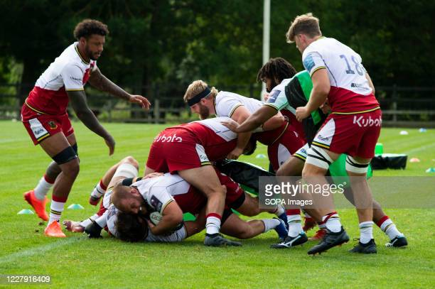 Forwards in action during the Northampton Saints training session at Franklin's Gardens for the first match against WASPS due on the 16th of August