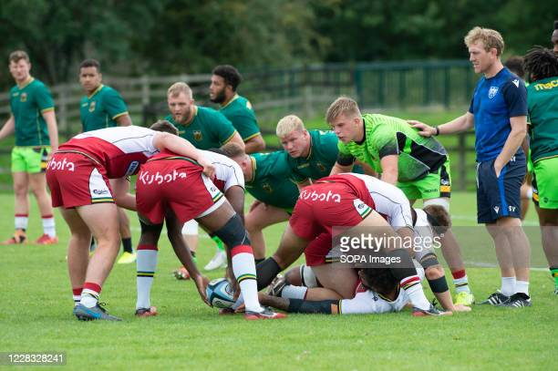 Forwards in action during the Northampton Saints training session at Franklin's Gardens