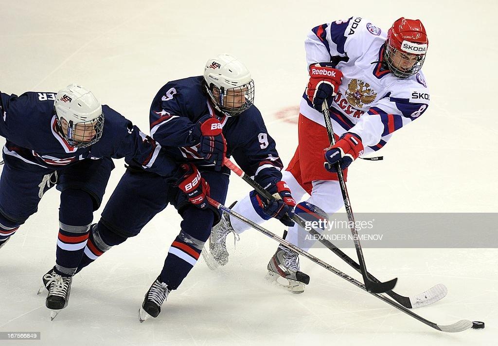 IHOCKEY-U18-WORLD-USA-RUS : News Photo