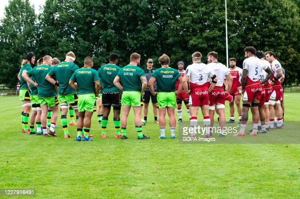 Forward's Phil Dowson issues instructions during the Northampton Saints training session at Franklin's Gardens for the first match against WASPS due...