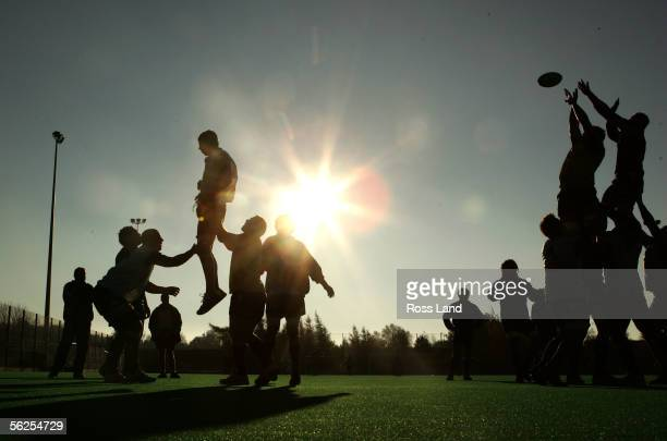 Forwards practice lineout routines during New Zealand All Blacks training on November 22 at the Peffermill training fields in Edinburgh Scotland