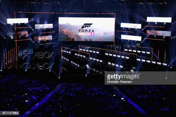 Forza Horizon 4' by Playground Games is revealed during the Microsoft xBox E3 briefing at the Microsoft Theater on June 10, 2018 in Los Angeles,...