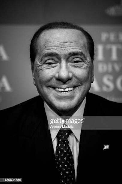 """Forza Italia leader Silvio Berlusconi attends the presentation of the new book """"Perché l'Italia diventò fascista"""" by Italian writer Bruno Vespa, on..."""