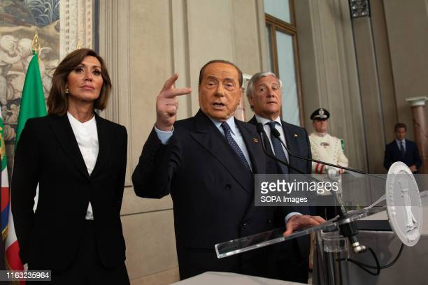 Forza Italia party president Silvio Berlusconi speaks to the media after a meeting with the Italian president on the second day of consultations with...