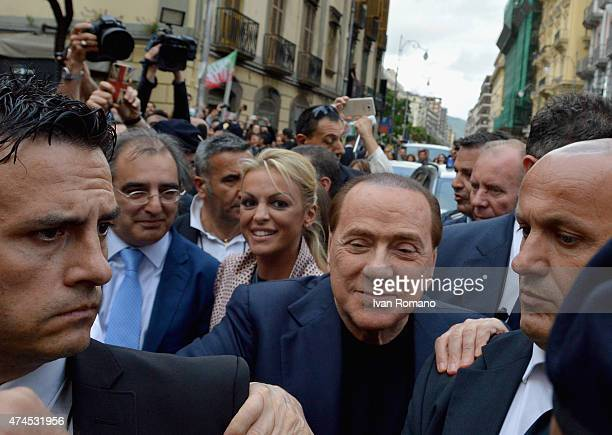 Forza Italia president Silvio Berlusconi and his wife Francesca Pascale visit Salerno in support of the reelection campaign of Stefano Caldoro for...