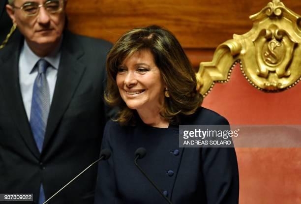 Forza Italia senator Maria Elisabetta Alberti Casellati addresses senators after being elected Senate President during the second session at the...