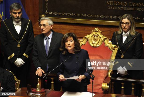 Forza Italia senator Maria Elisabetta Alberti Casellati addresses senators after she was elected Senate President during the second session at the...