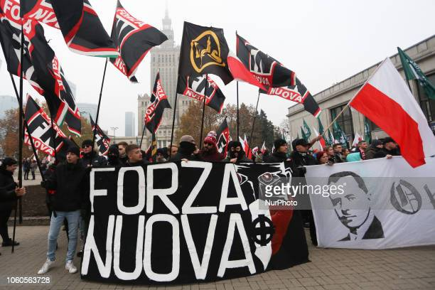 Forza Nuova, Italian far-right political party, attends 'White-and-red independence march' to celebrate the 100th anniversary of Poland regaining...