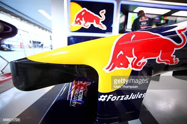 ForzaJules is displayed on the front wing of Daniel Ricciardo of Australia and Infiniti Red Bull Racing's RB10 in support of Jules Bianchi of France...