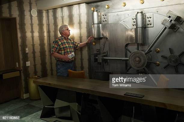 Foster Campbell Democratic candidate for the US Senate from Louisiana checks out a vault in the new Watermark hotel which used to be a bank in...