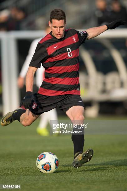 Foster Langsdorf of Stanford University takes a shot on goal against Indiana University during the Division I Men's Soccer Championship held at Talen...