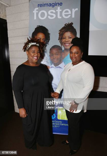 Foster parents Cleo King and Camille Thornton attend the reveal of the RaiseAChild's 'Reimagine Foster Parents' campaign at NeueHouse Hollywood on...