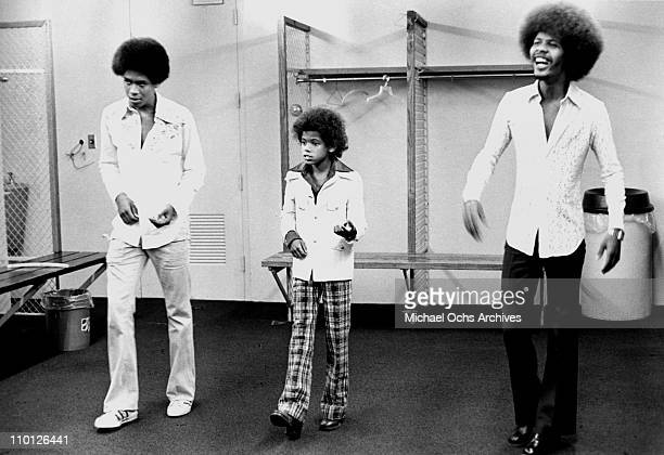 Foster Sylvers of the R and B group The Sylvers rehearses backstage at the Forum on July 14, 1973 in Inglewood, California.