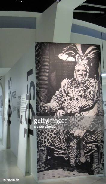 A fotoinstallation by Jean Harold is being displayed in the exhibition 'Picasso primitif' in the Musee du quai Branly in Paris France 4 August 2017...