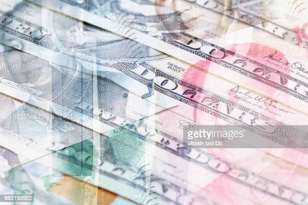 Fotomontage Dollar chinesische Renminbi und Geschäftsmann mit Koffer im Hintergrund