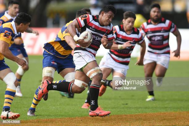 Fotu Lokotui of Counties Manukau makes a break during the round six Mitre 10 Cup match between Bay of Plenty and Counties Manukau Tauranga Domain on...