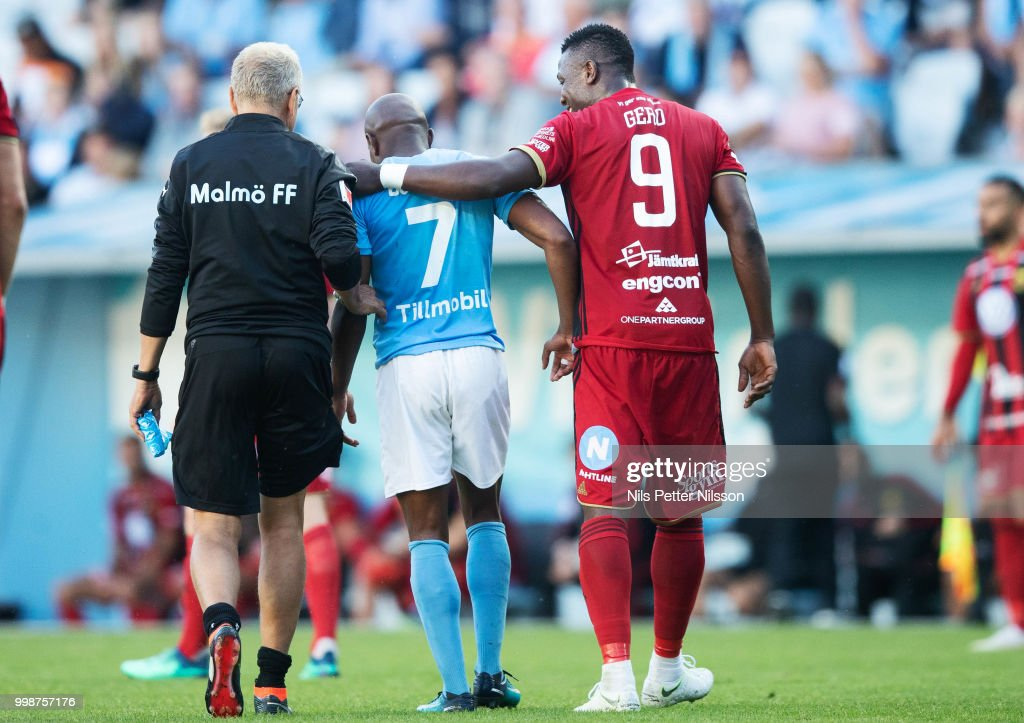 Fouad Bachirou of Malmo FF and Alhaji Gero of Ostersunds FK during the Allsvenskan match between Malmo FF and Ostersunds FK at Malmo Stadion on July 14, 2018 in Malmo, Sweden.