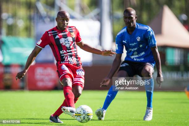 Fouad Bachirou of Ostersunds FK and Aboubakar Keita of Halmstad BK during the Allsvenskan match between Ostersunds FK and Halmstad BK at Jamtkraft...