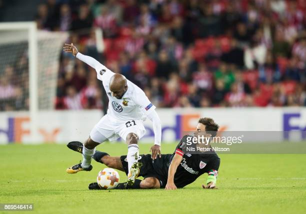Fouad Bachirou of Ostersunds FK and Ander Iturraspe of Athletic Bilbao during the UEFA Europa League group J match between Athletic Bilbao and...