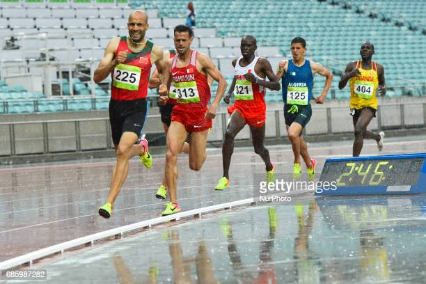 Fouad Elkaam of Morocco leads in Men's 1500m final ahead of Sadik Mikhou of Bahrain during day five of Athletics at Baku 2017 4th Islamic Solidarity...
