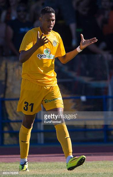 Fouad Idabdelhay of AEL Limassol in action during the Cypriot First Division match AEL Limassol FC and APOEL FC at the Tsirion Stadium on May 17 2014...