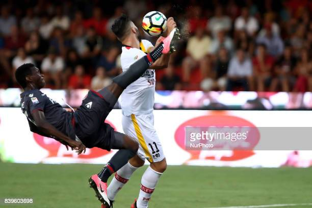 foul of M'Baye player of Bologna difender on Coda player of Benevento central tip Match of Serie A TIM between Benevento Calcio vs FC Bologna Stadium...