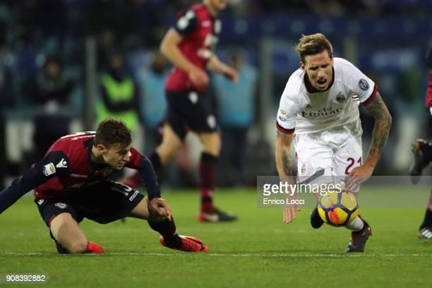 Foul of Nicolò Barella of Cagliari during the serie A match between Cagliari Calcio and AC Milan at Stadio Sant'Elia on January 21 2018 in Cagliari...