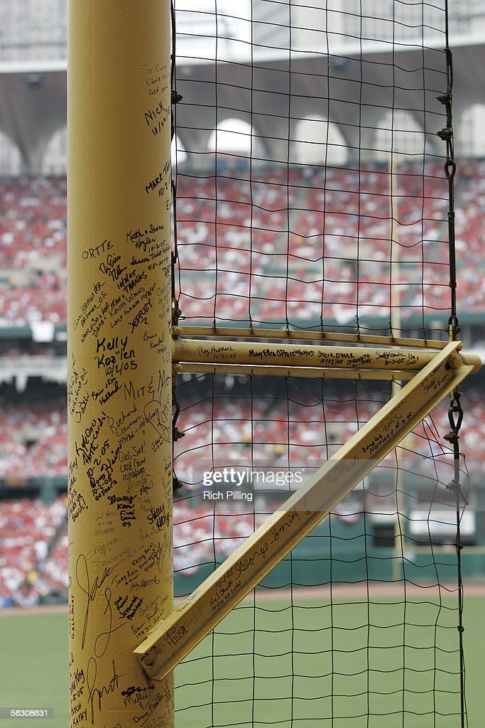 A foul pole full of fan's signatures and comments is pictured during the final regular season game on October 2, 2005 in St. Louis, Missouri. Following the season, Busch Stadium will be torn down to make room for a new stadium. The Cards defeated the Reds 7-5.