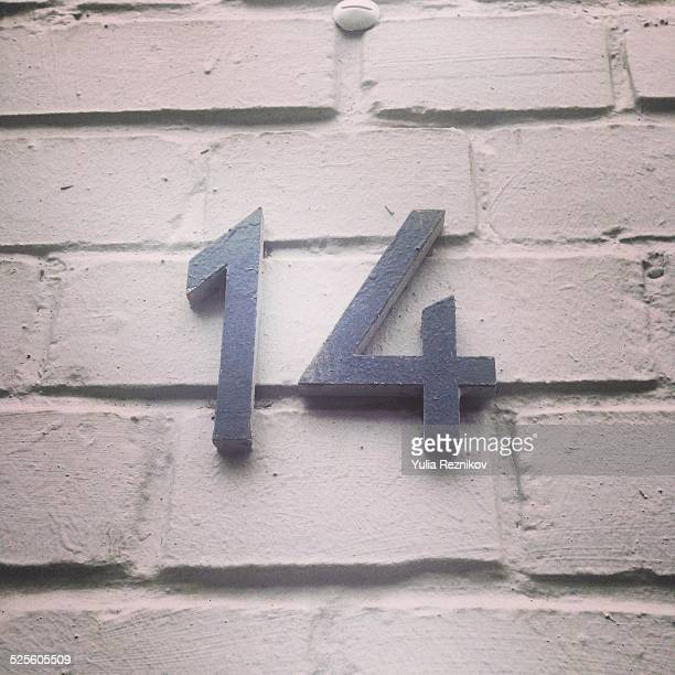 found letters and numbers - number 14 stock photos and pictures