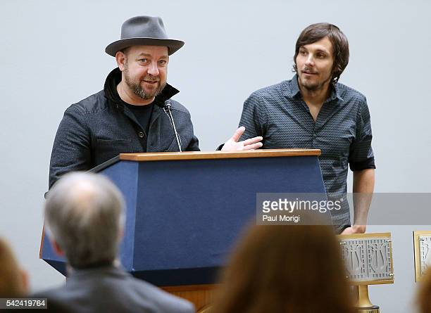 Foundation country music artists Kristian Bush and Charlie Worsham speak to music educators at a lobby day on the Hill kickoff event at the Hart...