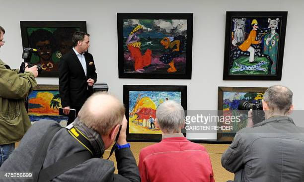 Foundation Director Christian Ring stands in front of works of the German painter Emil Nolde in the Nolde Foundation in Seebuell northern Germany on...