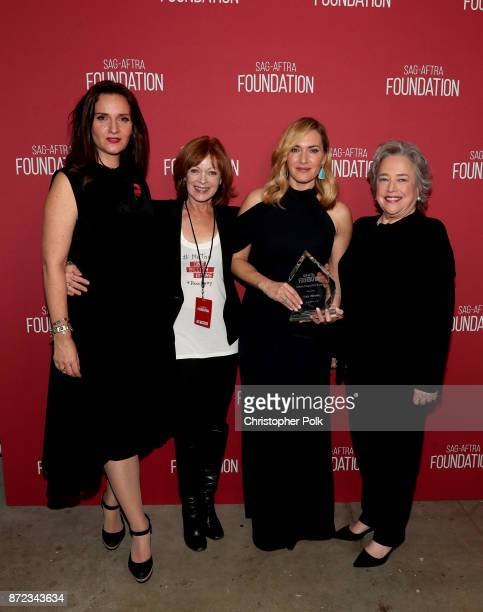 SAGAFTRA Foundation Director of Actors Programs Rochelle Rose Frances Fisher Actors Inspiration Award recipient Kate Winslet and Kathy Bates attend...