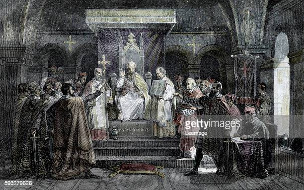 Pope Honorius II granting official recognition to the Knights Templar in 1129 during the council of Troyes Engraving from Les mysteres de la...