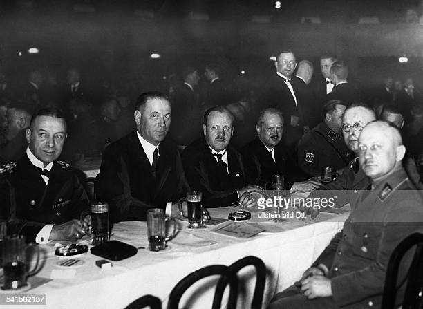 Foundation party of the Society of German Students in the Kroll Opera in Berlin from Left Admiral Erich Raeder Dr Steinacher and Oberpraesident Kube...