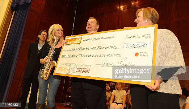 Foundation Vice President Scott Goldman contemporary jazz saxophonist and Labels for Education Artist Ambassador Mindi Abair Principal of Alcott...