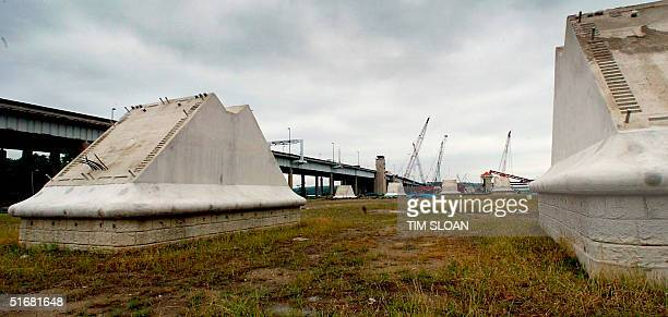 Foundation work is in full swing on the planned 12-lane span, $1.6 billion replacement bridge for the Woodrow Wilson Memorial Bridge 29 August 2002,...