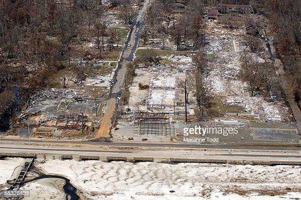 Foundations are all that's left where housing once stood along US Highway 90 September 9 2005 in Biloxi Mississippi Damage from Hurricane Katrina is...