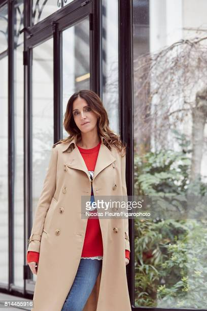 Founder and Artistic Director of Sandro Woman Evelyne Chetrite is photographed for Madame Figaro on March 8 2017 in Paris France Trench and jeans...