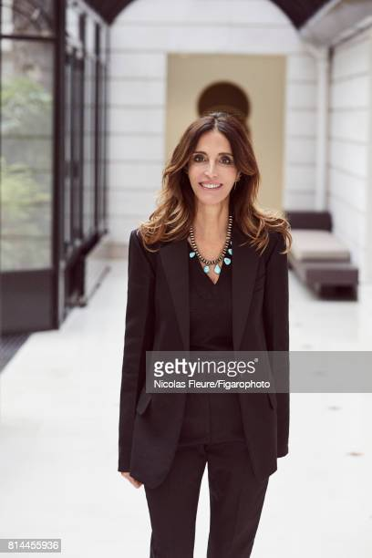 Founder and Artistic Director of Sandro Woman Evelyne Chetrite is photographed for Madame Figaro on March 8 2017 in Paris France Jacket and pants...