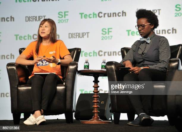 Founder and CEO Cindy Mi and TechCrunch moderator Megan Rose Dickey speak onstage during TechCrunch Disrupt SF 2017 at Pier 48 on September 20 2017...