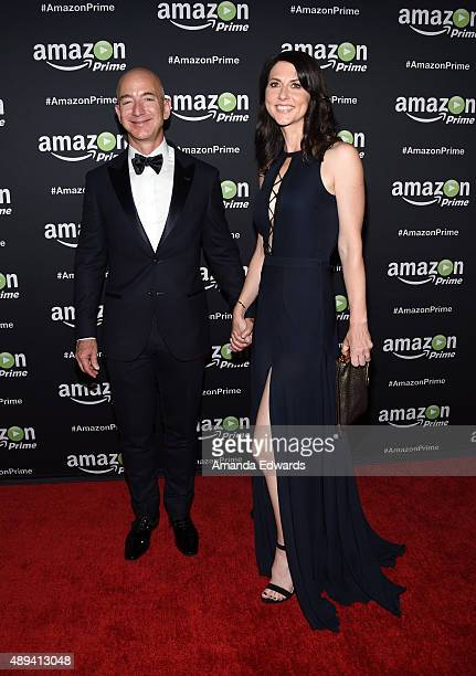 Founder and CEO of Amazoncom Jeff Bezos and MacKenzie Bezos arrive at Amazon Video's 67th Primetime Emmy Celebration at The Standard Hotel on...